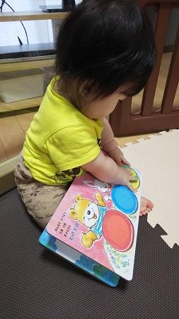 0歳11月号の本を1人で遊ぶ息子